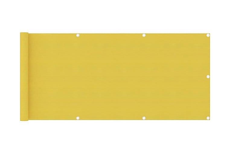 Balkongskärm vit 75x500 cm HDPE - Gul - Utemöbler - Solskydd - Balkongskydd