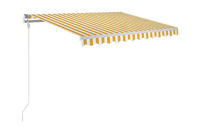 Markis manuellt infällbar 350x250 cm gul och vit - Gul - Utemöbler - Solskydd - Markiser