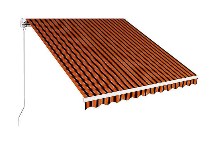 Markis manuellt infällbar 350x250 cm orange och brun - Orange - Utemöbler - Solskydd - Markiser