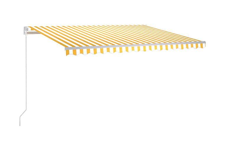 Markis manuellt infällbar 450x350 cm gul och vit - Gul - Utemöbler - Solskydd - Markiser