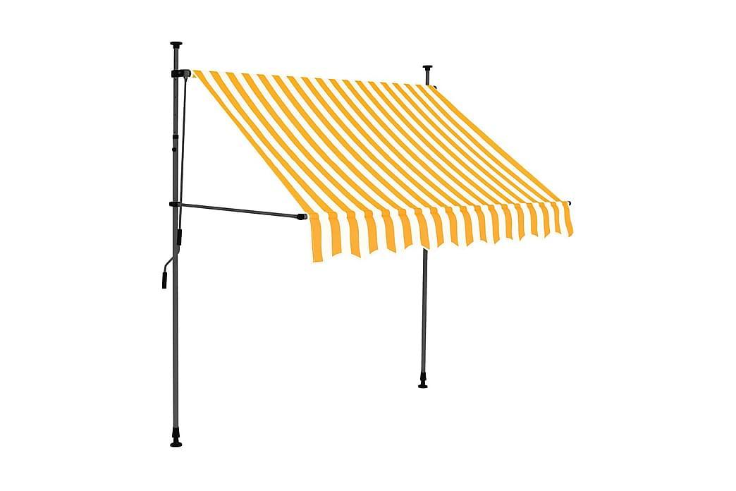 Markis manuellt infällbar med LED 200 cm vit och orange - Flerfärgad - Utemöbler - Solskydd - Markiser
