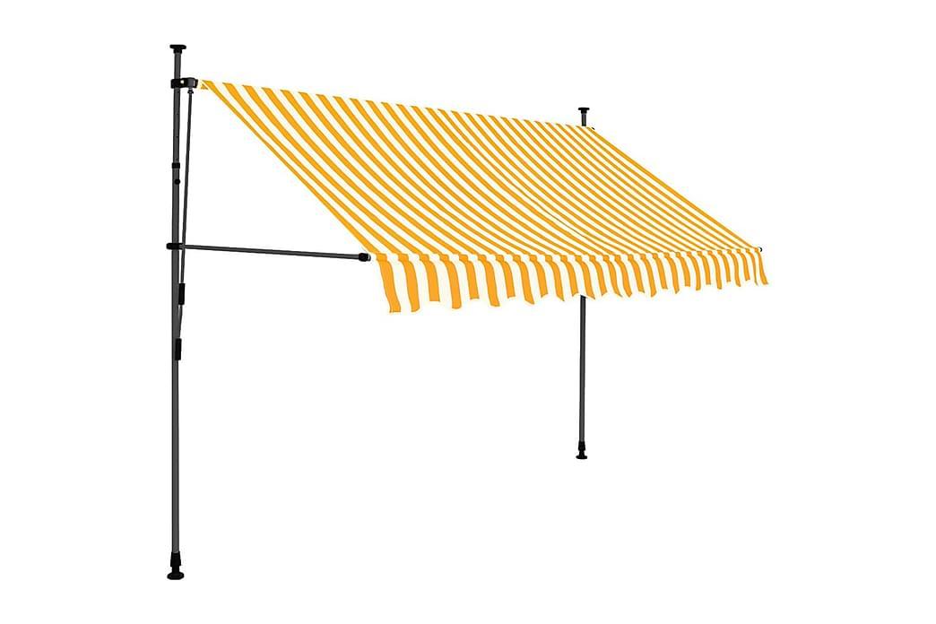 Markis manuellt infällbar med LED 300 cm vit och orange - Flerfärgad - Utemöbler - Solskydd - Markiser