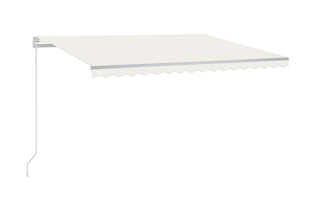 Markis manuellt infällbar med LED 400x300 cm gräddvit - Kräm - Utemöbler - Solskydd - Markiser