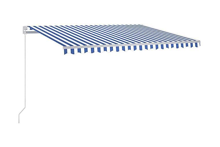 Markis manuellt infällbar med LED 450x350 cm - Blå - Utemöbler - Solskydd - Markiser