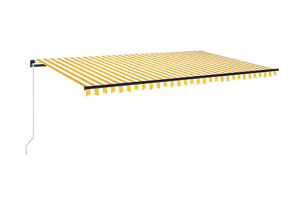 Markis manuellt infällbar med LED 500x300 cm gul och vit - Gul - Utemöbler - Solskydd - Markiser