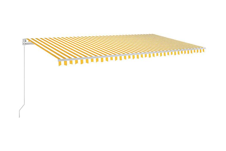 Markis manuellt infällbar med LED 600x300 cm gul och vit - Gul - Utemöbler - Solskydd - Markiser