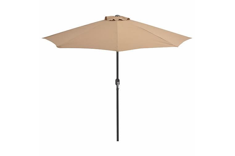 Balkongparasoll med aluminiumstolpe taupe 270x135cm halvrunt - Brun - Utemöbler - Solskydd - Parasoller
