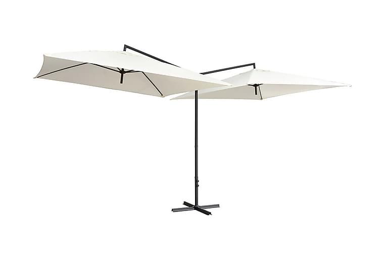 Dubbelt parasoll med stålstång 250x250 cm sandvit - Vit - Utemöbler - Solskydd - Parasoller