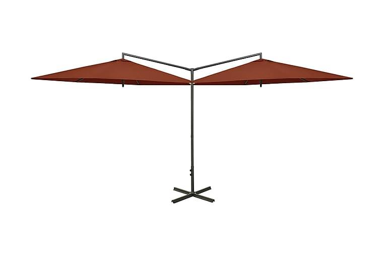 Dubbelt parasoll med stålstång terrakotta 600 cm - Utemöbler - Solskydd - Parasoller