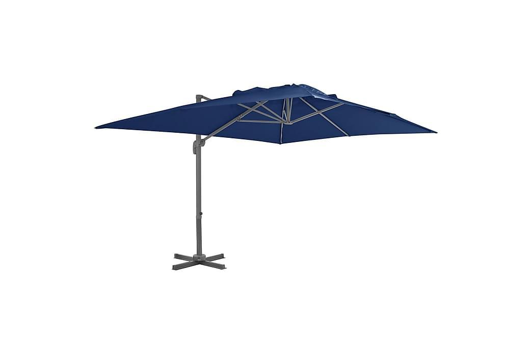 Frihängande parasoll med aluminiumstång 4x3 m azurblå - Blå - Utemöbler - Solskydd - Parasoller