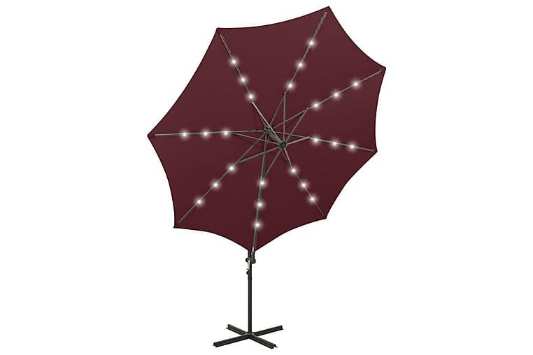 Frihängande parasoll med stång och LED vinröd 300 cm - Röd - Utemöbler - Solskydd - Parasoller