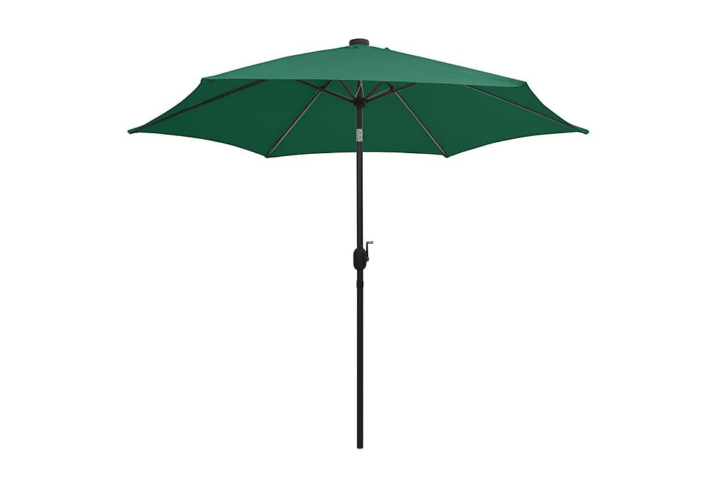 Parasoll med LED-lampor och aluminiumstång 300 cm grön - Grön - Utemöbler - Solskydd - Parasoller