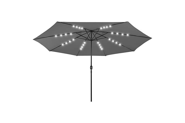 Parasoll med LED-lampor och metallstång 400 cm antracit - Antracit - Utemöbler - Solskydd - Parasoller