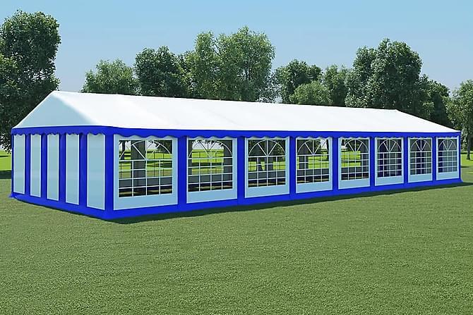 Partytält PVC 6x16 m blå och vit - Blå - Utemöbler - Solskydd - Paviljonger