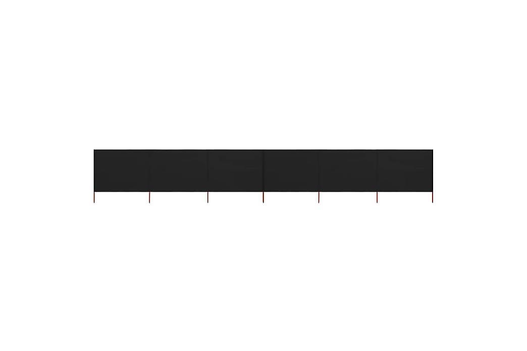 Vindskydd 6 paneler tyg 800x80 cm svart - Svart - Utemöbler - Solskydd - Skärmskydd & vindskydd