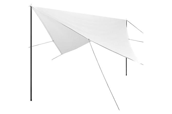 Solskydd med stolpar tarp HDPE fyrkantig 4x4 m vit - Vit - Utemöbler - Solskydd