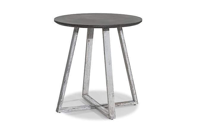 Cafébord Visby 70 cm Runt - Vit|Akacia - Utemöbler - Utebord - Cafébord