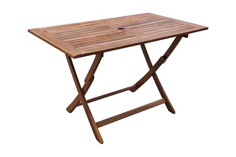 Hopfällbart trädgårdsbord 120x70x75 cm massivt akaciaträ - Brun - Utemöbler - Utebord - Cafébord