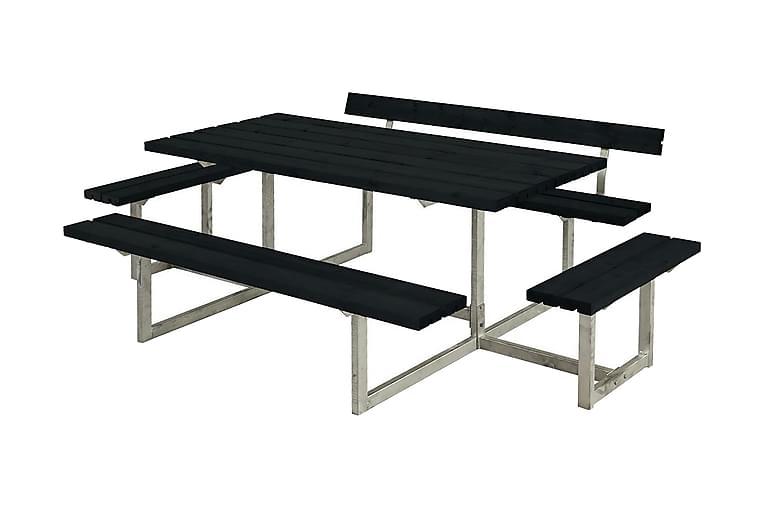 Basic bord- och bänkset med 1 ryggstöd + 2 påbyggnader - Grå Vit - Utemöbler - Välj efter material - Trä & teak