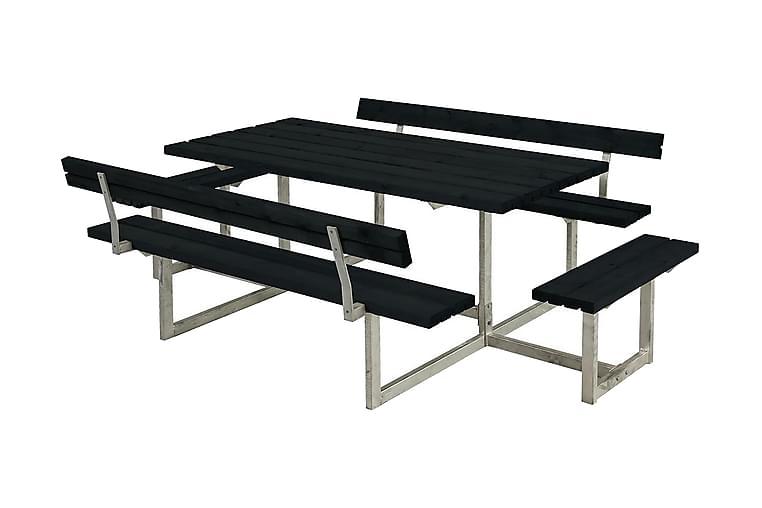 Basic bord- och bänkset med 2 ryggstöd + 2 påbyggnader - Svart - Utemöbler - Utebord - Picknickbord