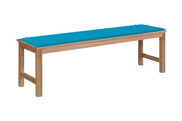 Trädgårdsbänk med blå dyna 150 cm massiv teak - Utemöbler - Soffor & bänkar ute - Bänkar