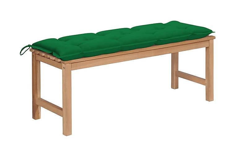 Trädgårdsbänk med grön dyna 120 cm massiv teak - Utemöbler - Soffor & bänkar ute - Bänkar
