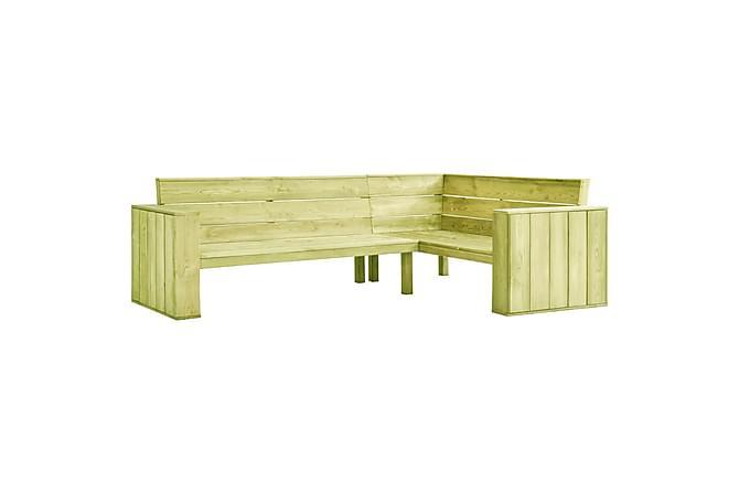 Hörnbänk 239 cm impregnerad furu - Grön - Utemöbler - Soffor & bänkar ute - Trädgårdssoffor