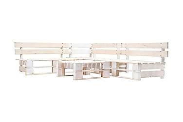 Pallsoffa 4 delar FSC-trä vit