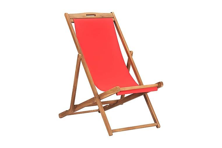 Hopfällbar strandstol massiv teak röd - Röd - Utemöbler - Stolar & Fåtöljer ute - Brassestolar & campingstolar