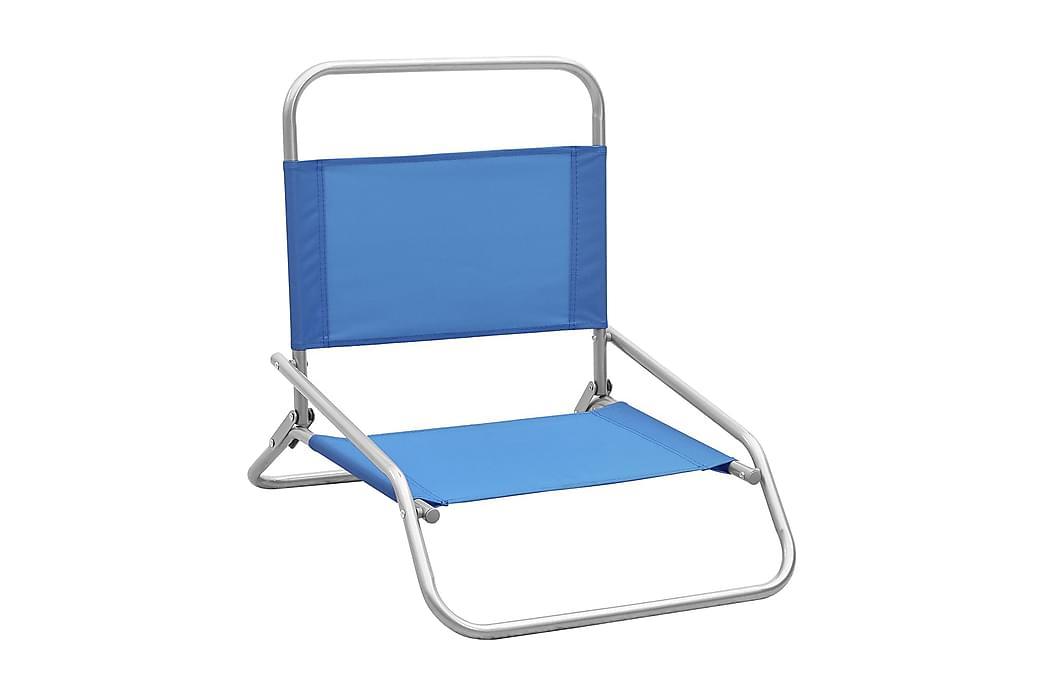 Hopfällbara strandstolar 2 st blå tyg - Blå - Utemöbler - Stolar & Fåtöljer ute - Brassestolar & campingstolar