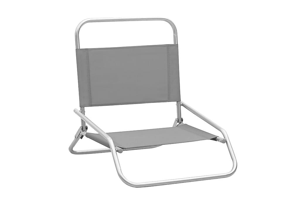 Hopfällbara strandstolar 2 st grå tyg - Grå - Utemöbler - Stolar & Fåtöljer ute - Brassestolar & campingstolar