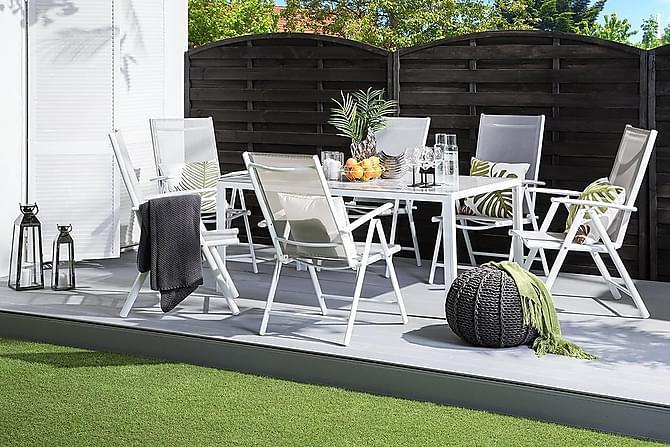 Trädgårdsstol 6 St Catania 44 cm - Grå - Utemöbler - Stolar & Fåtöljer ute - Matstolar