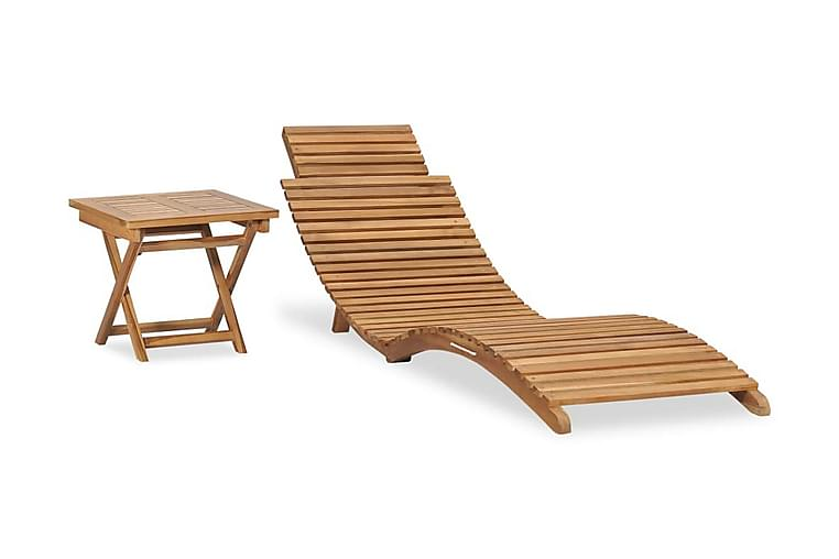 Hopfällbar solsäng med bord massiv teak - Brun - Utemöbler - Stolar & Fåtöljer ute - Solsängar & solvagnar