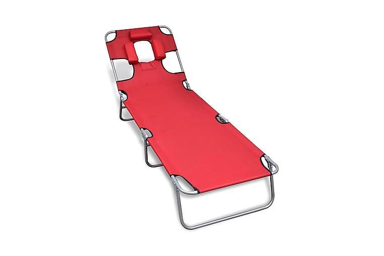 Hopfällbar solsäng med huvudkudde pulverlackerat stål röd - Röd - Utemöbler - Stolar & Fåtöljer ute - Solsängar & solvagnar
