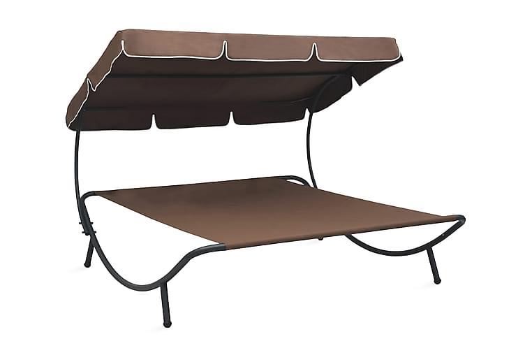Solsäng dubbel med tak brun - Brun - Utemöbler - Stolar & Fåtöljer ute - Solsängar & solvagnar
