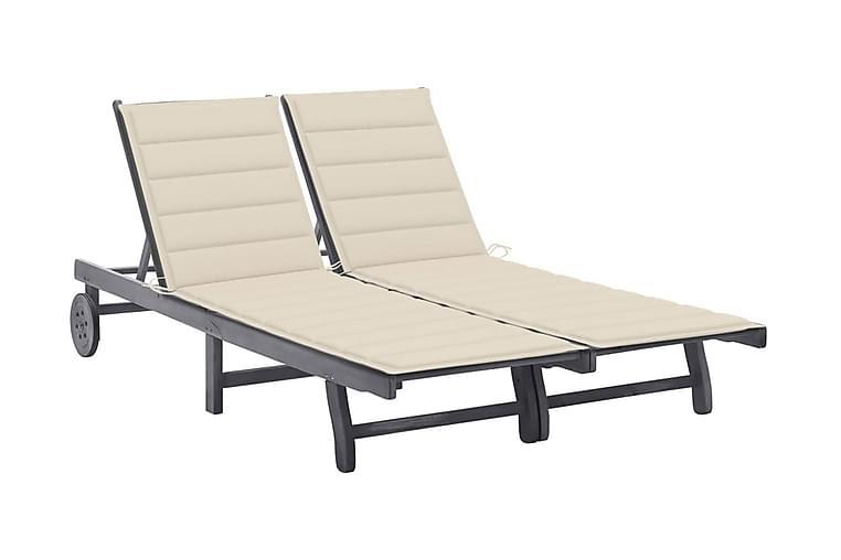 Solsäng för 2 med dyna grå massivt akaciaträ - Brun - Utemöbler - Stolar & Fåtöljer ute - Solsängar & solvagnar