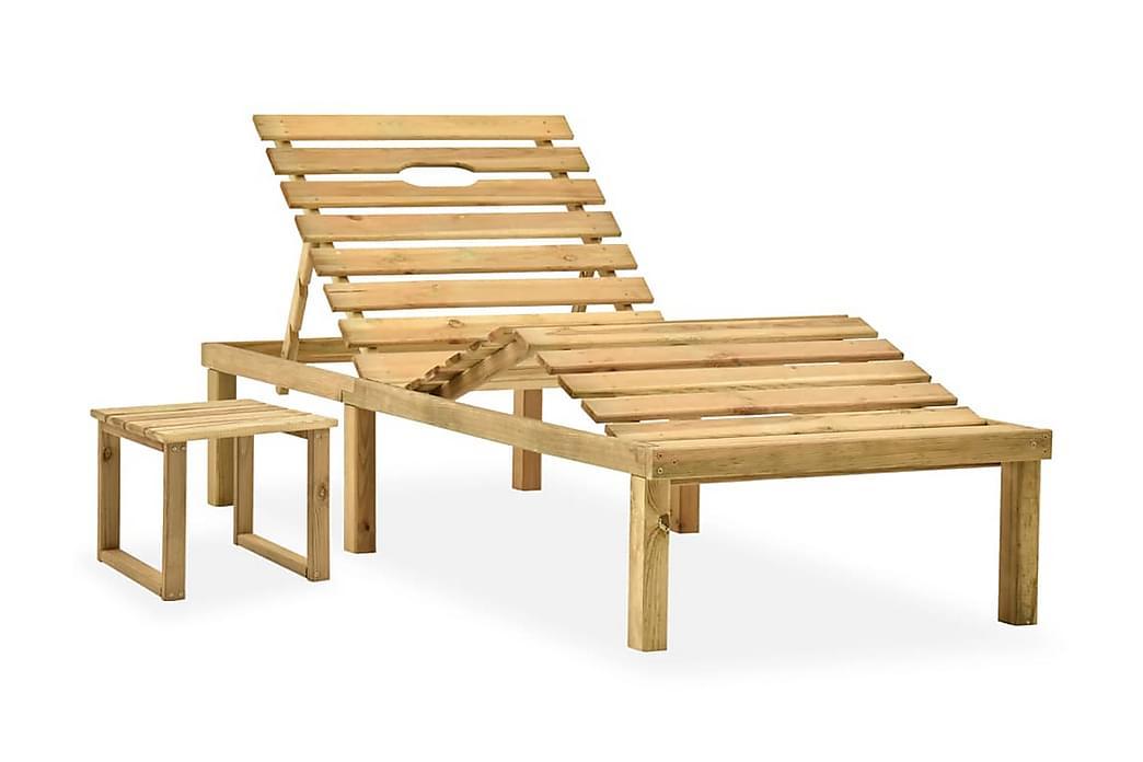 Solsäng med bord impregnerad furu - Brun - Utemöbler - Stolar & Fåtöljer ute - Solsängar & solvagnar