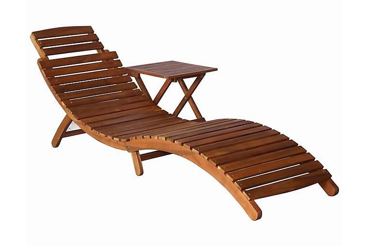 Solsäng med bord massivt akaciaträ brun - Brun - Utemöbler - Stolar & Fåtöljer ute - Solsängar & solvagnar