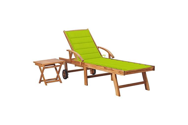 Solsäng med bord och dyna massiv teak - Utemöbler - Stolar & Fåtöljer ute - Solsängar & solvagnar