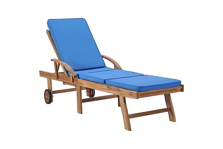 Solsäng med dyna massiv teak blå - Blå - Utemöbler - Stolar & Fåtöljer ute - Solsängar & solvagnar