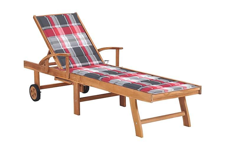 Solsäng med dyna rött rutmönster massiv teak - Utemöbler - Stolar & Fåtöljer ute - Solsängar & solvagnar