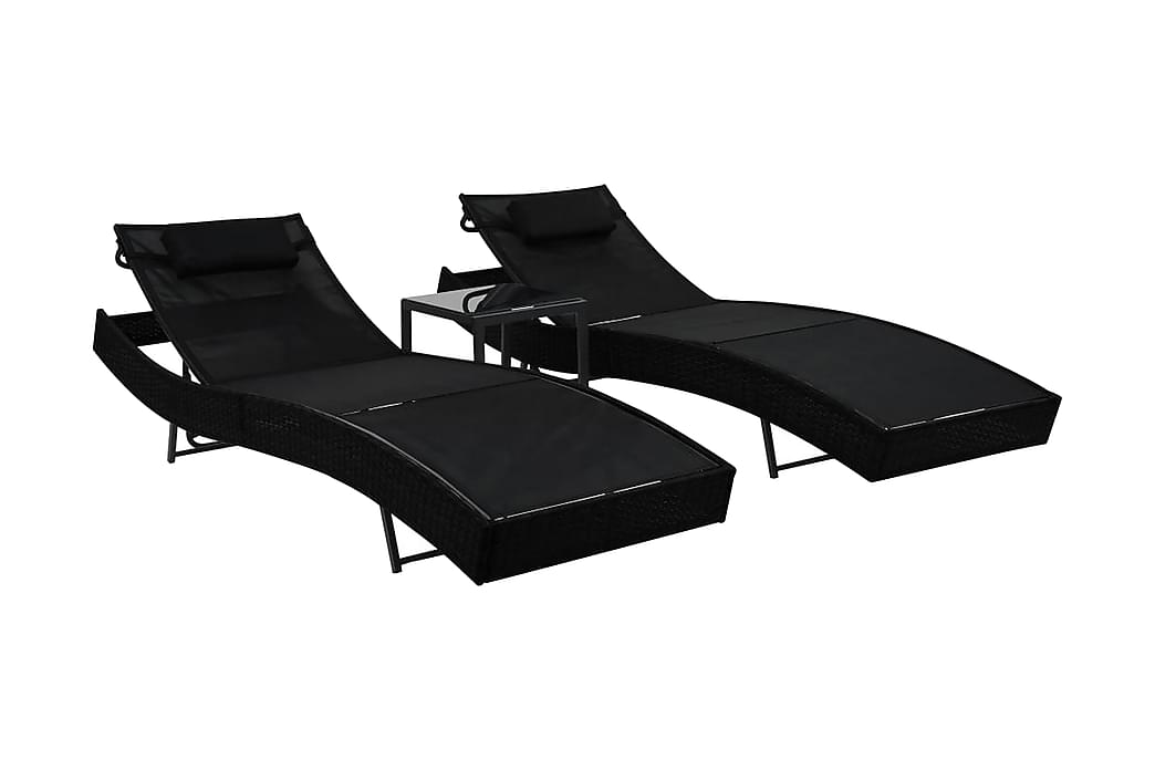 Solsängar 2 st med bord konstrotting och textilene svart - Svart - Utemöbler - Stolar & Fåtöljer ute - Solsängar & solvagnar