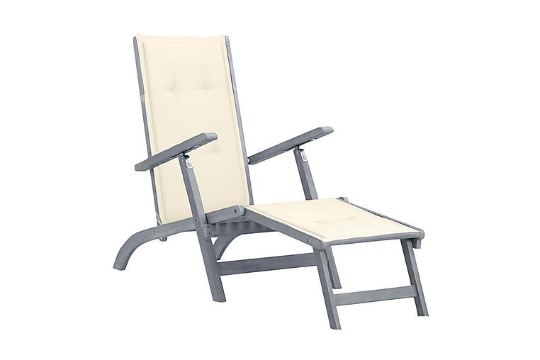 Däckstol med fotstöd och dyna massivt akaciaträ - Grå - Utemöbler - Stolar & Fåtöljer ute - Solstolar