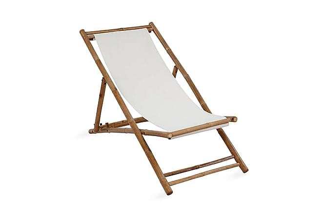 Solstol bambu och kanvas - Beige|Brun|Vit - Utemöbler - Stolar & Fåtöljer ute - Solstolar